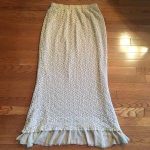 🌀 vintage lace mermaid skirt elastic waist